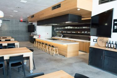 Culinary room with 2 flat screens showing image from the concealed camera